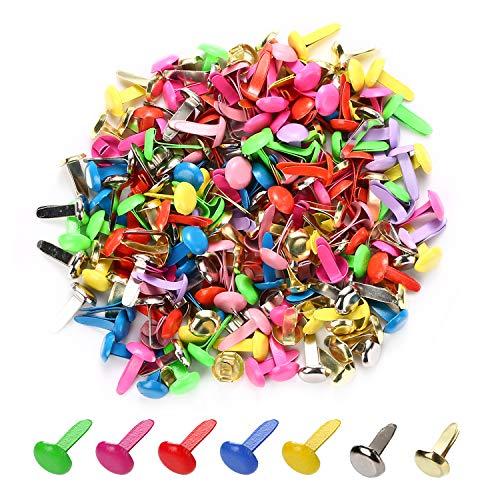 moinkerin 200 Stücke Mini Runde Brads, Musterklammern Metall Bunte Brads 12mm x 8mm Verwendet für Scrapbooking Papier Briefklammern Basteln Handwerk DIY Kunsthandwerk