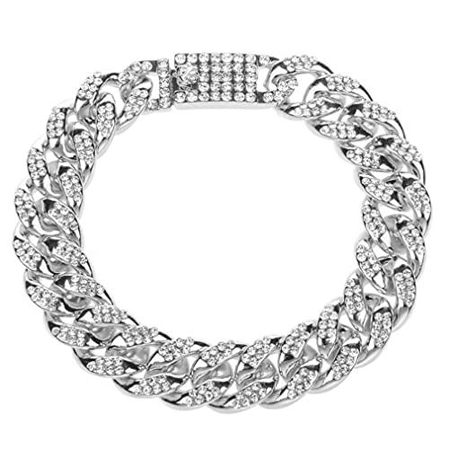 M/S Tobillera de Cadena de Metal para Mujer, Hombre, Pulsera de Diamantes de imitación, Punk, Hip Hop, Rock, Plata, 23 cm