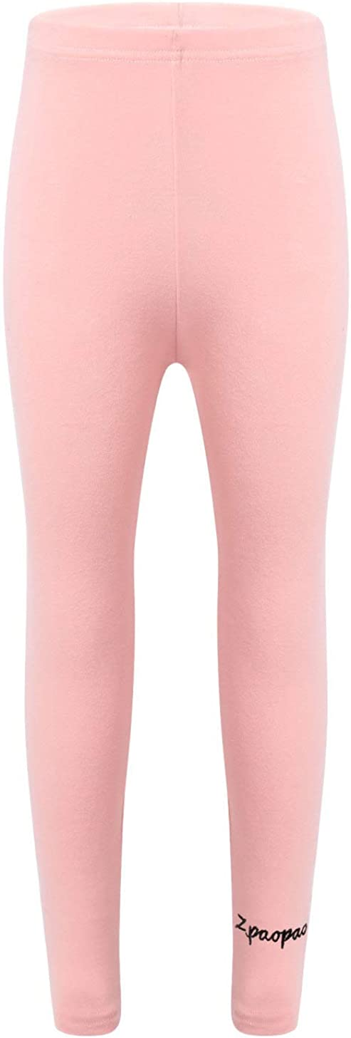Loodgao Kids Little Girls Basic Leggings Cotton Casual Solid Stretch Tights Pants Fashion Letter Leggings Pink 8