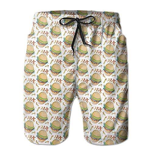 huibe Canotte da Hamburger estive da Uomo Quick-Dry Running Swim Trunks Pantaloncini da Corsa Costume da Bagno da Spiaggia Sport, Taglia XXL