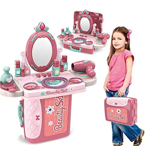 OBLETTER 3 in 1 Beauty Makeup Pretend Play Set Fashion Set Suitcase Toy, Gift for Girls 3-8 Year Old Kids