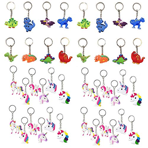 Feidiao 40 Pcs Dinosaurier Einhorn Schlüsselanhänger Set Anhänger für Tasche und Schlüssel, Geburtstagsfeier Gefälligkeiten für Kinder,Dinosaurier Jurassic Spielzeug (40 Multi)