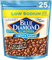 Blue Diamond Almonds Low Sodium Lightly Salted Snack Nuts, 25 Oz Resealable Bag (Pack of 1)