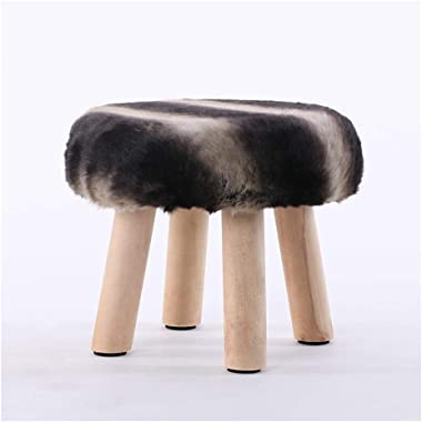 Carl Artbay Wooden Footstool Black Gray Stripes Fashion Stool Wood Small Bench Creative Stool Removable and Washable Stool Home