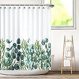 Aitsite Duschvorhang, Wasserdicht Bad Vorhang aus Polyestergewebe mit 12 Haken, Duschvorhänge Waschbar Anti-Schimmel 180 x 180 cm-Eucalyptus