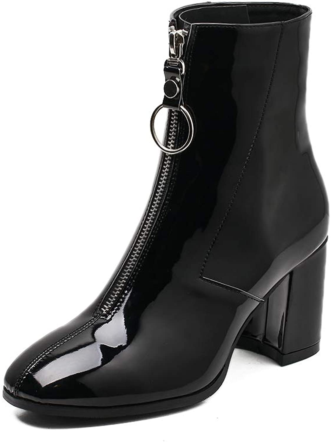 Women's Boots, Square Head shoes, Thick high Heel Boots, Spring and Winter New, Front Zipper Versatile shoes, Martin Boots