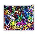 KHKJ Tapiz psicodélico para Colgar en la Pared Enorme casa de Setas Tapiz Hippie Mandala Wonderland Boho decoración para el hogar A4 200x150cm