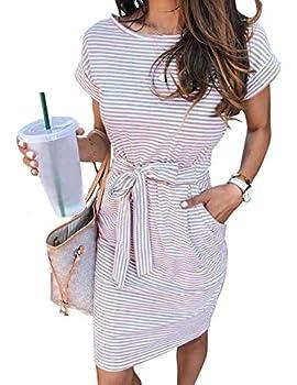 MEROKEETY Women s Summer Striped Short Sleeve T Shirt Dress Casual Tie Waist Midi Dress Dustypink S