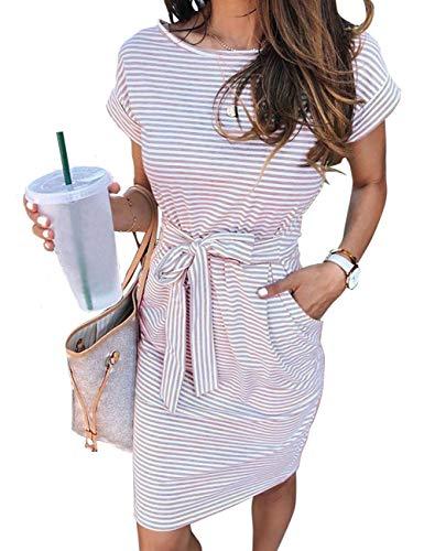 MEROKEETY Women's Summer Striped Short Sleeve T Shirt Dress Casual Tie Waist Midi Dress, Dustypink, XL