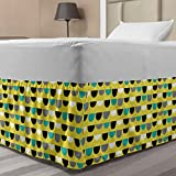 Ambesonne Geometric Elastic Bed Skirt, Horizontally Arranged Repeated Half Circle Motifs Retro Funky Illustration, Wrap Around Fabric Bedskirt Dust Ruffle for Bedroom, Twin/Twin XL, Lime Green Teal