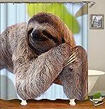 Chickwin Duschvorhang Wasserdicht Anti-Schimmel 3D Tier Drucken Polyester Bad Vorhang mit 12 Duschvorhangringe für Badezimmer Decor (120x180cm,Khaki Faultier)