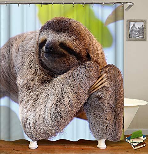 Chickwin Duschvorhang Wasserdicht Anti-Schimmel 3D Tier Drucken Polyester Bad Vorhang mit 12 Duschvorhangringe für Badezimmer Decor (90x180cm,Khaki Faultier)