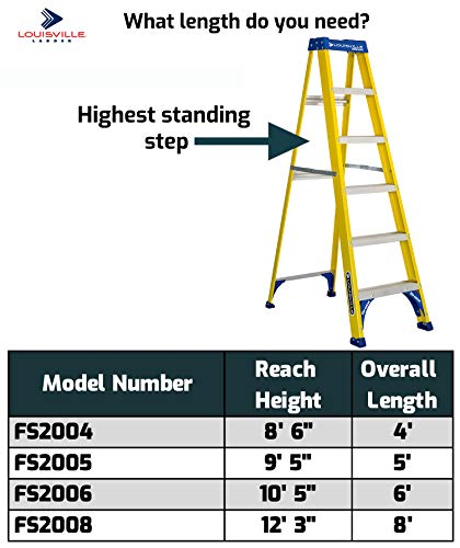 Louisville Ladder FS2004 Fiberglass Step Ladder, 4-Feet/250lb