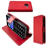 Casco para Alcatel 2008G, Bookstyle-Case Funda Protectora a Prueba de Golpes para Smartphone (Carcasa de Color Rojo)