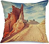 Throw Pillow Cover Funda de cojín, Retro Azul Vintage Entonado Paisaje Rock en Formaciones Bryce Formation Landscape Canyon Parks Funda de Almohada al Aire Libre