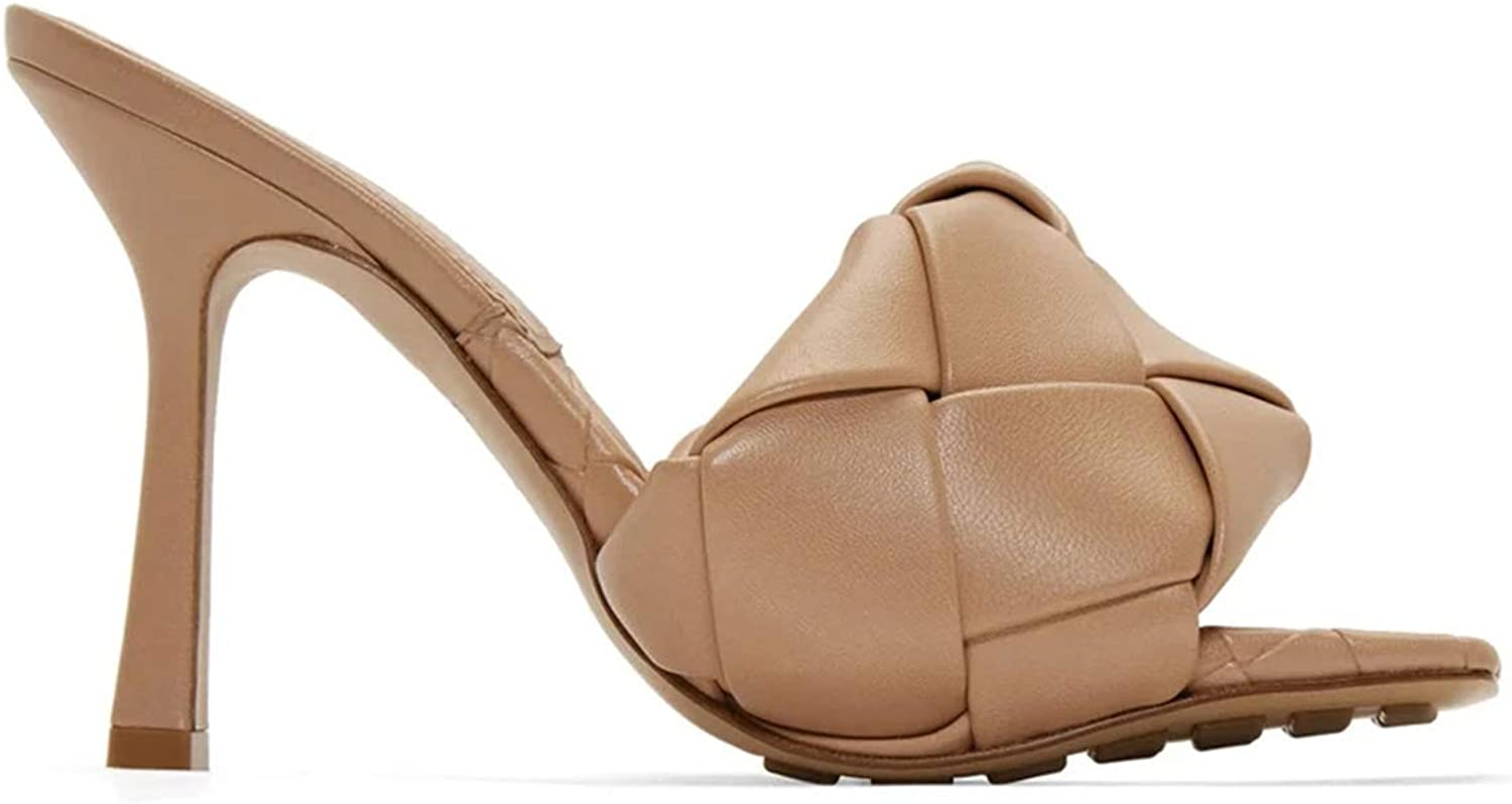 VETASTE Women's Square Open Toe Heeled Woven Leather Mule Sandals Stiletto Slip On Quilted High Heel Shoes