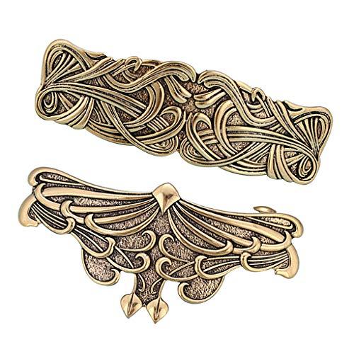P Prettyia 2 Stück Keltische Haarnadeln Haarspangen Große Haarclips Mittelalter Haarklammern Haarschmuck, Wikingerschmuck