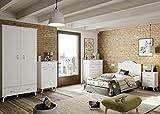 Miroytengo Pack Muebles Dormitorio Juvenil Tina Vintage Blanco (Cabezal+Armario+Mesita+Cómoda+Zapatero)