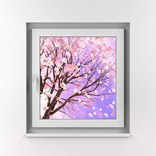 Top Fensteroptik Kirschbaum & Blätter Fenster-Motiv auf transluzenter (stark lichtdurchlässig trotz Sichtschutz) Klebefolie - viele Größen. (Baum 1 (näher) 80x80)
