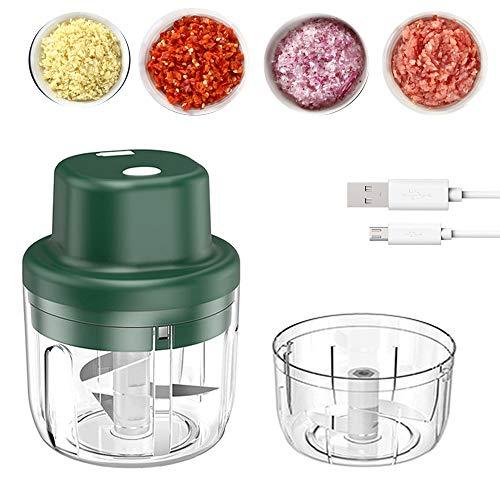 Elektrisch Knoblauchpresse,Zwiebelschneider,Zerkleinerer mit 2 Schüssel 150ml/300ml USB Aufladung Gemüsezerkleinerer,Multizerkleinerer für Babynahrung Fleisch Knoblauch Obst