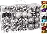 Brubaker Set di 100 Accessori Decorativi per L'Albero di Natale - addobbi Natalizie in Color Argento - Diverse Forme di Palline ed Un Puntale per Albero di Natale