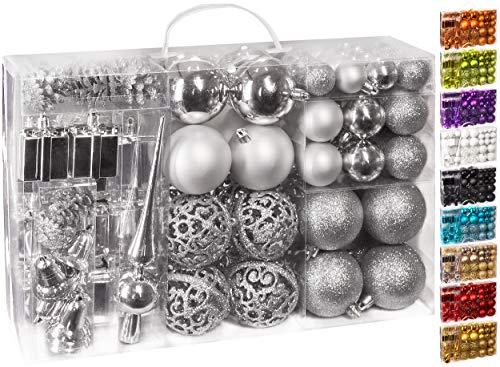 Brubaker 101-teiliges Set Weihnachtskugeln mit Baumspitze Silber Christbaumschmuck