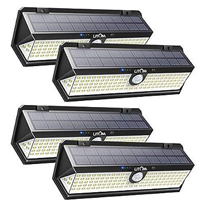 LITOM Solar Motion Sensor Light, Large Size 122 LED Solar Lights with Front Button, Indicator Lights, 3 Modes and IP67 Waterproof Rating for Door, Garden, Deck, Porch- 4 Pack