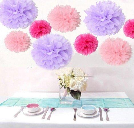 Krismile® Pack of 18PCS Mixed Pink Lavender Hot Pink Tissue Pom Poms Paper Flower Wedding Pompoms Birthday Party Bridal Shower Favor Decoration