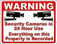 警告24時間監視 メタルポスタレトロなポスタ安全標識壁パネル ティンサイン注意看板壁掛けプレート警告サイン絵図ショップ食料品ショッピングモールパーキングバークラブカフェレストラントイレ公共の場ギフト