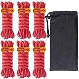 ガイロープ パラコード ロープ テントロープ ガイライン タープロープ 反射 6本 セット 4mm * 4m キャンプ アウトドア アルミニウム 自在金具付き 収納袋付き 耐荷重260kg (レッド)