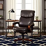 LaZBoy Trafford Big and Tall Executive Office Chair with AIR Technology, High Back Ergonomic Lumbar Support, Brown Bonded Leather