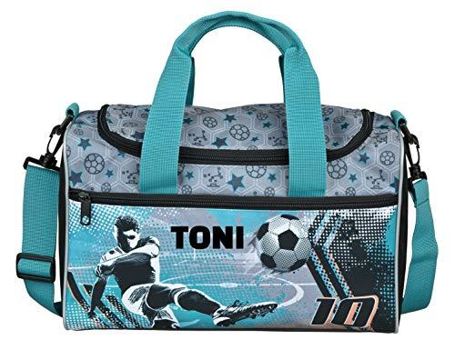 kleine Sporttasche mit Namen | inkl. NAMENSDRUCK | Motiv Fußball & Spieler in Petrol, grau & grün | Personalisieren & Bedrucken | Reisetasche für Jungen