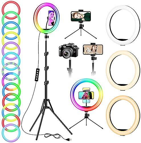 12' Ring Light with Stand and Phone Holder, Selfie Ring Lights with Tripod Stand for TikTok YouTube...