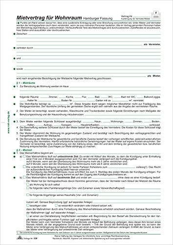 Mietvertrag für Wohnraum - Hamburger Fassung, 6 Seiten, gefalzt auf DIN A4