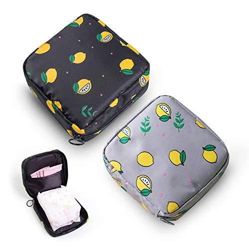 Sanitary Napkin Storage Bag,Menstrual Cup Pouch,Portable Sanitary Napkin Pads Storage Bag with Zipper Feminine Menstruation First Period Bags for Teen Girls Women Ladies(2 Pack)