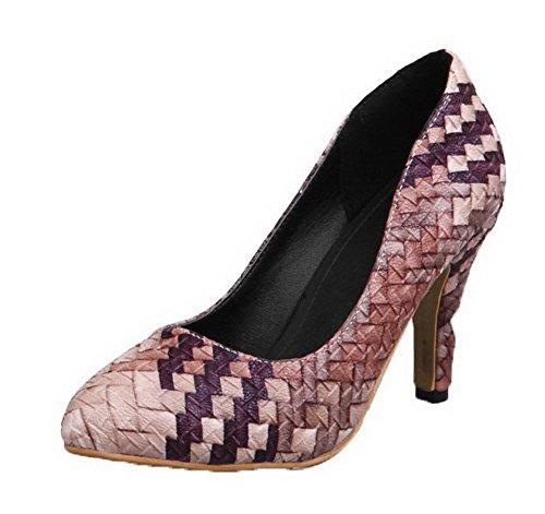VogueZone009 Damen PU Leder Spitz Zehe Hoher Absatz Gemischte Farbe Pumps Schuhe, Aprikosen Farbe, 34