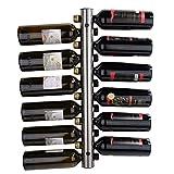 Celbon - Portabottiglie per vino, in acciaio inox, Portabottiglie da parete da mettere in cucina,Bar, Soggiorno,Argento (12 Fori)
