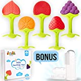 Pamper Toys Teethers for babies 6-12 months, 5 Pack Baby Teething Toys, Fruit Silicone teethers for Baby with Gift Baby Toothbrush and Gift Box, BPA Free, Soothing Sensory Gum Relief for Infants