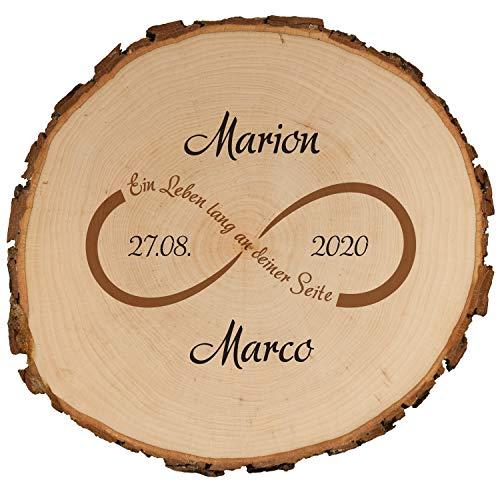 Geschenke 24 Baumscheibe mit Druck zur Hochzeit 15,5 cm mit Unendlichkeitsmotiv – mit Namen + Datum personalisiert – Hochzeitsgeschenke für Brautpaar