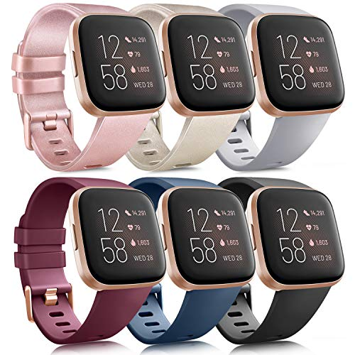 6 Pack Sport Bands Compatible with Fitbit Versa 2 / Fitbit Versa/Versa Lite/Versa SE, Classic Soft Silicone Replacement Wristbands for Fitbit Versa Smart Watch Women Men (6 Pack A, Large)