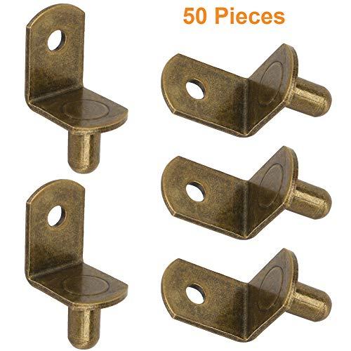 "25pcs 1//4/"" Antique Brass L Shaped Cabinet Shelf Support Pin Peg"
