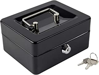 """Kyodoled Cash Box with Money Tray,Small Safe Lock Box with Key,Cash Drawer,5.91""""x 4.72""""x 3.15"""" Black Small"""