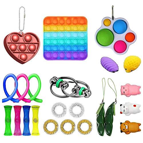 Gazaar Sensorisches Fidget-Spielzeug, lindert Stress und Angst, Quetsch-Handspielzeug, mit einfachen Noppen, Affen-Nudeln, Farb-Pop-It und Regenbogen-Ball, 23 Stück