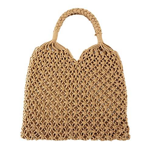 FALETO Damen Mädchen Netz Stroh geflochtene Tasche Handgefertigt Handtasche Sommer Hohl Strandtasche Handgelenkstasche, Weiß/Khaki (Khaki)