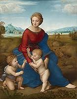 絵画風 壁紙ポスター(はがせるシール式) ラファエロ・サンティ ベルヴェデーレの聖母(牧場の聖母) 1505-06年 美術史美術館 キャラクロ K-RFE-004S1 (585mm×749mm) 建築用壁紙+耐候性塗料