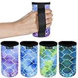 Beautyflier 12oz Slim Can Neoprene Bottle Insulator Sleeve Collapsible Drink Slim Can Cover for 12 Ounce Energy Drink Beverage Beer Can (Turtle Pattern With Handle (4 Pcs))
