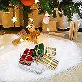 LISOPO Jupe de Sapin de Noël Blanc Peluche Neige Décorations d'arbre de Noël...