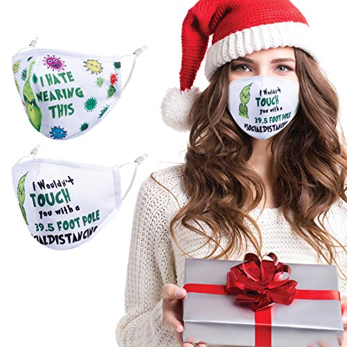 Gyothrig Christmas Face Mask Reusable Washable Cloth Cotton Fabric Women Men Adult Unisex with Nose Wire Adjustable Comfortable Cute Holiday Xmas Printed Mascarillas White 2 Pack 2021