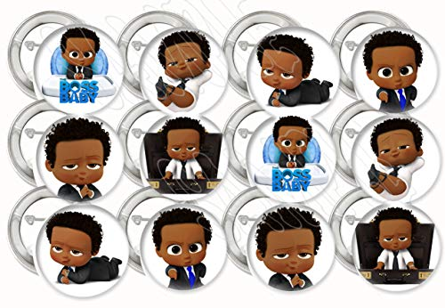 "Black Boss Baby Buttons Party Favors Supplies Decorations Collectible Metal Pinback Buttons, Large 2.25"" -12 pcs African American"
