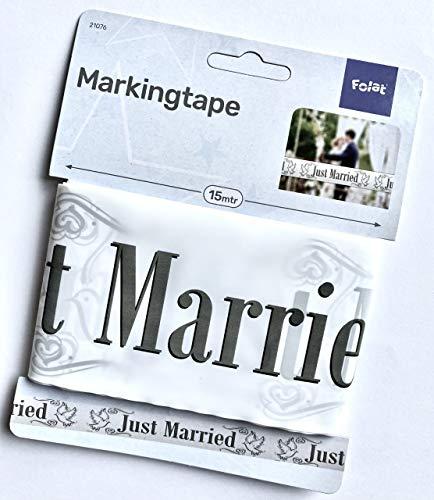 Girlande Absperrband FOL210768(1) Absperrband Just Married, Weiß